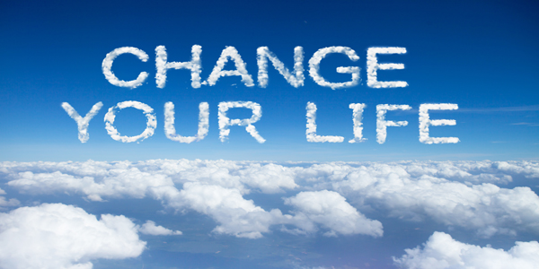 change your life clouds word on sky over clouds.